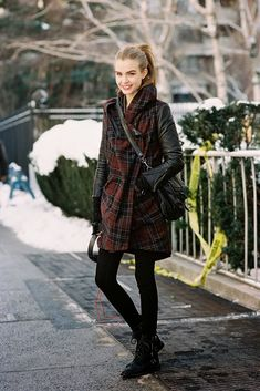 Danish model Josephine Skriver, after A Show, NYC, February 2014. The plaid coat. Recreate...