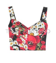 image preview woman corset red flowers floral top printed daisies poppies clothes spring summer 2016 resort 2016