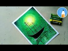 How to Draw green light scenery with Oil Pastels for Beginners - step by step - Andrea Lee-Ward How Oil Pastel Paintings, Oil Pastel Drawings, Oil Pastel Art, Dark Art Drawings, Unique Drawings, Art Drawings Sketches, Oil Pastel Landscape, Drawing Scenery, Disney Canvas Art