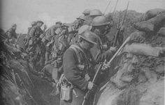 CANADIAN EXPEDITIONARY FORCE Soldiers Fixing Bayonets Before An Attack On The Somme. (The Battle of the Somme (French: Bataille de la Somme, German: Schlacht an der Somme), also known as the Somme Offensive, took place during the First World War between 1 July and 18 November 1916 on either side of the river Somme in France. SMLE No.1 Mk.III .303cal. 7.7x56mmR