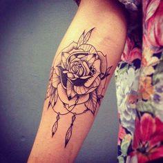 Rose dream catcher tattoo