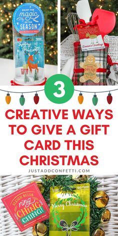 Check out these 3 creative ways to give a gift card this Christmas! These DIY ideas are all so easy to put together. They all have Just Add Confetti printable gift tags too! Head to justaddconfetti.com for more details and be sure to check out all of my other Christmas gift ideas too!