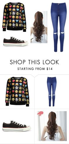 """black"" by maja-zmeskalova on Polyvore featuring WearAll, Converse and Pin Show"