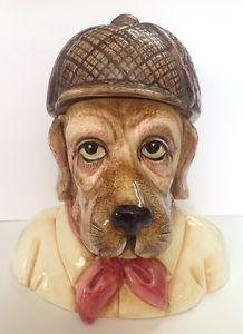 Vintage Rare Sigma Theodora Detective Hound Dog Porcelain Cookie Jar