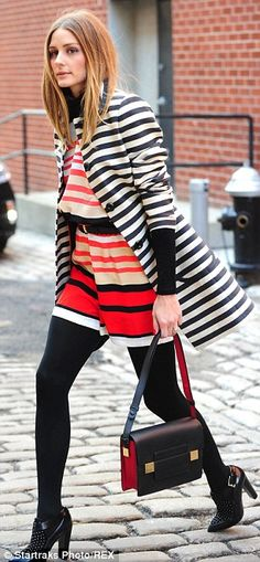 'Play with color. It's all about the styling!' The 28-year-old reality starlet paired her fashion steal with a similarly striped jacket, opa...