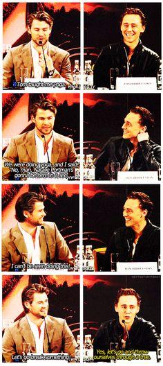 Tom teaching Chris yoga