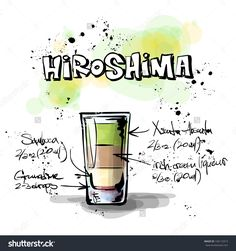 Hand Drawn Illustration Of Cocktail. Hiroshima. Vector Collection. - 156115913 : Shutterstock