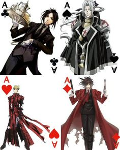 Aces cards by Madcrazyduck on DeviantArt - Aces cards by Madcrazyduck on DeviantArt (Now my world is completed) - Anime Nerd, Anime Guys, Manga Anime, Itachi Cosplay, Emo Pictures, Hellsing Alucard, Trinity Blood, Ace Card, Otaku Meme