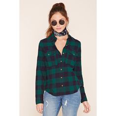 Forever 21 Women's  Buffalo Plaid Flannel Shirt ($20) ❤ liked on Polyvore featuring tops, short-sleeve button-down shirts, long sleeve button up shirts, long sleeve button down shirts, long sleeve shirts and collared shirt