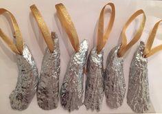 6 Fancy Schmancy Silver Painted Oyster Shell Ornaments by ZestyCrafts