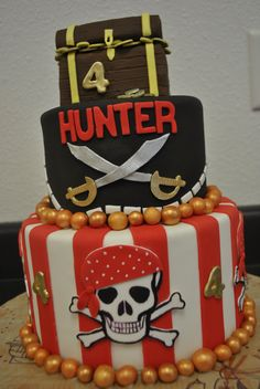 Pirate cake for silent auction? Instead of gold balls, make them look like gold bars, no name or age