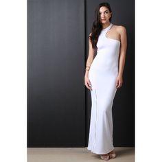 Asymmetrical Cutaway Zipper Slit Maxi Dress ($60) via Polyvore featuring dresses, slit maxi dress, stretch maxi dress, slit dress, racer back dress and zipper dress