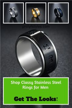 These are trendy rings for men that will add some flair to their everyday attire. We have the perfect ring for your style. From the biker-boy look to casual day-to-day wear, these cute rings can go with anything. Their versatility makes them great styling options, not only showing off your personality but freeing up your fingers to carry heavier items like groceries or your dog! These are cool rings for men that will spice up their everyday fashion. Shop the trendiest looks now! Cool Rings For Men, Cute Rings, Smart Ring, Casual Rings, Wave Ring, Bohemian Rings, Stainless Steel Rings, Rings Online, Black Rings
