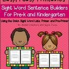 Your pre-k and kindergarten students are going to be pros at building sentences when they are finished with this resource. There are 77 sight word...