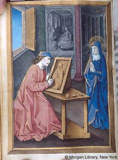 Medieval Manuscript Images, Pierpont Morgan Library, Hours of Anne of France. MS M.677 fol. 29v. Medieval artist at work