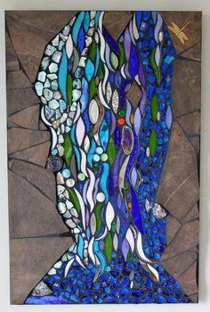 Mosaic Mixed Media, Glass, Shells, Water, Aquarius