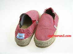 #topfreerun3 comSave Up To 55%,$33.95 New Arrival Toms Flax Knit Strip Shoes Red