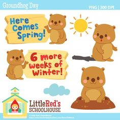 Clip Art: Groundhog Day - Cute free clipart set FREE