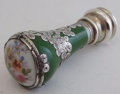 Antique French green enamel silver & porcelain DESK SEAL c 1870 - 80 5.5cm long