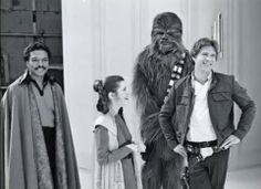 Carrie Fisher, Harrison Ford, Billy Dee Williams, and Peter Mayhew (Chewbacca)