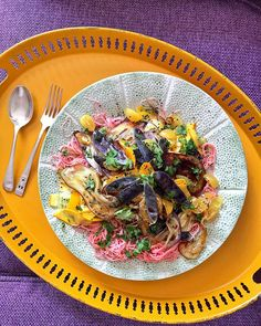 Made this a couple of days ago. Bit messy cooking styling with one hand while filming! This is a composition in yellow & purple: aubergines  purple mangetout sofa yellow tomatoes courgettes tray with pink soba noodles. #cookingwithcolour #cooking #vegan #vegetarian #recipe #food #glutenfree