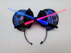 Home of the Light-up Lightsaber Mouse Ears by StraightOnTilDisney Diy Mickey Mouse Ears, Diy Disney Ears, Disney Mickey Ears, Disney Diy, Disney Crafts, Micky Ears, Disney Stuff, Disney Ears Headband, Disney Headbands
