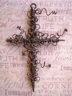 LOVIN' these rusty wire wrapped crosses from an etsy artist!!!