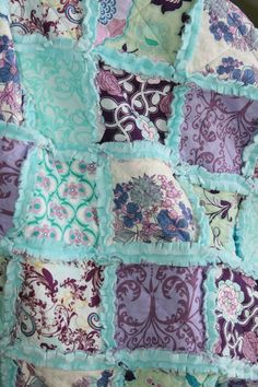 can anyone make this for me? Crib Rag Quilt Baby Girl Crib Bedding Purple Aqua by justluved, $139.95