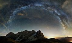 """""""The Crown of the Dolomites"""", a composite image of 14 (seven foreground and seven background) pictures showing the Milky Way over the Dolomite Mountains in northern Italy, captured by Italian photographer and engineering student, Edoardo Brotto. Space Photography, World Photography, Photography Awards, Night Photography, Amazing Photography, Landscape Photography, Galaxy Photos, To Infinity And Beyond, Milky Way"""