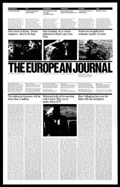 Proposed redesign for The European Journal by Massimo Vignelli in 1978.  Via Gridness.