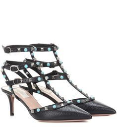 Valentino - Rockstud Rolling leather pumps - Valentino's Rockstud kitten heels are a style that will stay in your closet for years to come and, updated in this Rolling effect, they're sure to become an instant favourite. In grainy leather, they're topped off with the designer's signature pyramid studs and glossy beads for textural contrast. Take them from the office to evenings out with ease. seen @ www.mytheresa.com