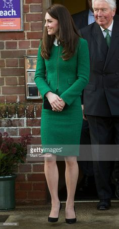 Catherine, Duchess of Cambridge visits EACH to get an update on The Nook Appeal on January 2017 in Quidenham, Norfolk. HRH is Royal Patron of EACH and launched The Nook Appeal in Get premium, high resolution news photos at Getty Images Kate Middleton Outfits, Kate Middleton Style, Duchess Kate, Duchess Of Cambridge, Kate Middleton Prince William, Professional Outfits, Princess Kate, Fall Dresses, Green Dress