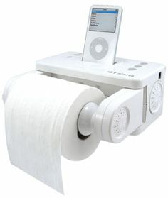Charmin needs to give these away in a Facebook contest. This is the ultimate man's Christmas gift!    Amazon.com: iCarta iPod Stereo   Dock and Bath Tissue Holder: MP3 Players & Accessories