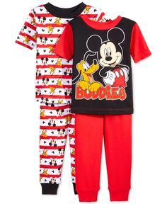 Mickey Mouse Toddler Boys' 4-Piece Buddies Pajama Set