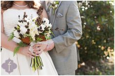 Kayla F Photography: keely and scott | the big day  Love the use of pine cones in her bouquet for her winter wedding.  More here: http://kaylafphotography.blogspot.com/2013/01/keely-and-scott-big-day.html
