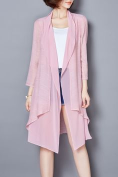 Lushijiao Light Pink Irregular Solid Color Cardigan | Cardigans at DEZZAL  Click on picture to purchase!