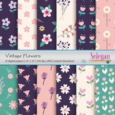 Vintage Flowers12x12 Printable Digital Paper by Selegan on Etsy Download it Here:- https://www.etsy.com/listing/257574560