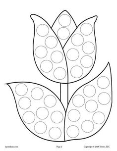 FREE Tulip Flower Do-A-Dot Printable! Spring dot coloring pages like this are perfect for toddlers and preschoolers to practice fine motor skills and more! Get all 12 spring Do A Dot Printables for FREE here --> https://www.mpmschoolsupplies.com/ideas/7936/12-free-spring-do-a-dot-printables/