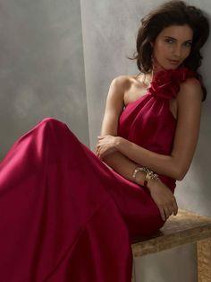 Cherry Taffeta One Shoulder A-line Floor Length High Fashion Bridesmaid Dress
