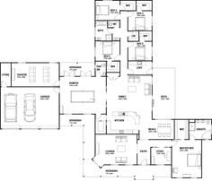 Great entertainment house - 'rosedale', prestige series - just love love love this layout! Bedroom House Plans, Dream House Plans, House Floor Plans, The Plan, How To Plan, Home Design Floor Plans, Plan Design, House Blueprints, Sims House