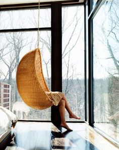 Hanging egg chair by Bonacina