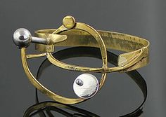 Richard BItterman Modernist Silver and Brass Bracelet 1970 Chicago (item #1298580)