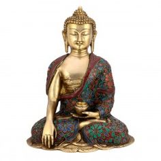 """12"""" Large Earth touching Buddha Statue-Brass Floral Turquoise stone Sculpture"""
