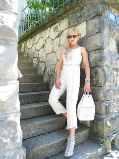 Overall in white with diamonds. Tiana, People Around The World, Overalls, Jumpsuit, Dresses, Fashion, Fashion Styles, Gowns, Vestidos