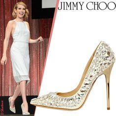 """Emma Roberts in Jimmy Choo White """"Tia"""" Rhinestone Crystal Pumps"""