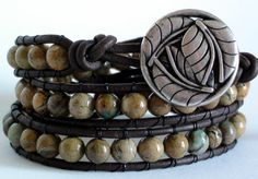 Triple Wrap Earthy Verdite Leather Wrap Bracelet by TaphiaDesigns
