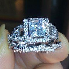 Sz-5-10-Princess-Cut-Swarovski-Crystal-White-Gold-Women-Wedding-Silver-Ring-Set
