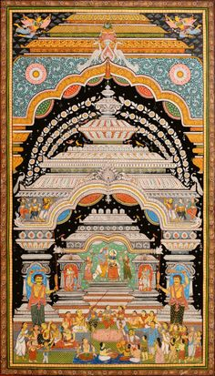 Exotic India Kirtan at Radha-Krishna Temple - Water Color Painting on Patti - Folk Art From The Temple Town Puri Kerala Mural Painting, Krishna Painting, Madhubani Painting, Silk Painting, Arte Krishna, Radha Krishna Temple, Pichwai Paintings, Indian Art Paintings, Indian Traditional Paintings