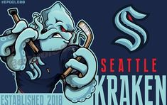 """Eric Poole on Instagram: """"After a long wait, we finally get the Seattle Kraken! I figured this was a good way to start the slew of hockey artwork that will be coming…"""" Hockey Logos, Hockey Goalie, Ice Hockey, Sports Logos, Sports Teams, Seattle Sounders, Seattle Mariners, Seattle Seahawks, Uw Huskies"""