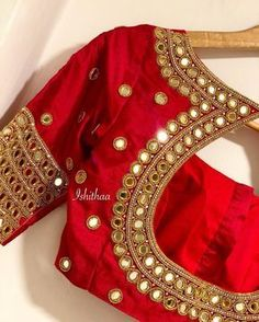 When in doubt wear red. Beautiful red color designer blouse with hand embroidery mirror work. Custom made bridal blouse for dear Kugi from Malaysia ! Ping on 9884179863 to book an appointment.